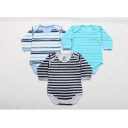 Kit Body Bebê 3 Peças Menino Mescla e Azul Listras
