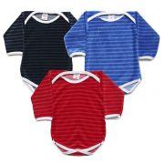 Kit Body Bebê com 3 Peças Menino em Plush Azul, Marinho e Vermelho