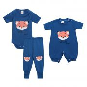 Kit Body Bebê com 3 Peças Menino Raposa Azul Royal