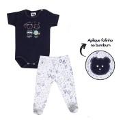 Kit Body e Calça Bebê Menino Ursinho Azul Marinho e Branco