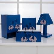 Kit de Higiene Bebê com 7 Peças Elefantes Azul Marinho