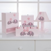 Kit de Higiene Bebê com 7 Peças Elefantes Rosa