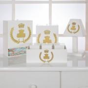 Kit de Higiene Bebê com 7 Peças Realeza Branco e Dourado