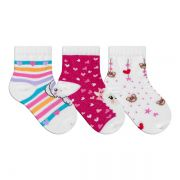 Kit Meias Bebê 3 Pares Menina Branca e Pink