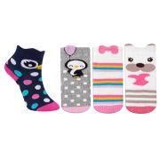 Kit Meias Bebê 4 Pares Fun Socks Menina
