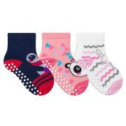 Kit Meias Bebê com 3 Pares Antiderrapante Menina Pink
