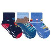 Kit Meias Bebê com 3 Pares Antiderrapante Menino Azul