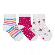 Kit Meias Bebê Primeiros Passos 3 Pares Menina Branca e Pink