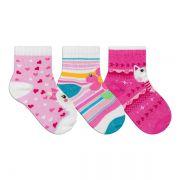 Kit Meias Bebê Primeiros Passos 3 Pares Menina Pink e Rosa