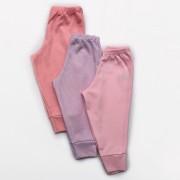 Kit Mijão Bebê Malha Canelada Rosa, Rosê e Lilás