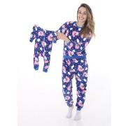 Macacão Bebê Mãe e Filha em Soft Fleece Arco-íris Azul