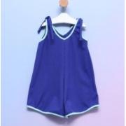 Macaquinho Infantil Alcinha Malha Canelada Azul Royal