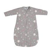 Saco de Dormir para Bebê Menina em Moletom Espacial Cinza Mescla e Rosa