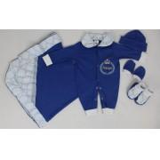 Saída da Maternidade com 5 peças Menino Basic Azul Royal