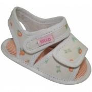 Sandália Infantil Menina Frutas com Duplo Velcro Off White
