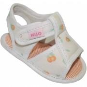 Sandália Infantil Menina Frutas com Velcro Off White