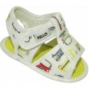 Sandália Papete Infantil Carrinhos Menino com Velcro Off White