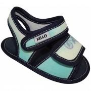 Sandália Papete Infantil Menino com Duplo Velcro Azul Claro