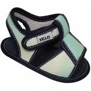 Sandália Papete Infantil Menino com Velcro Azul Claro
