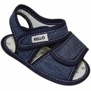 Sandália Papete Jeans Infantil Menino com Duplo Velcro Azul Escuro