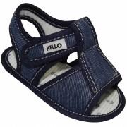 Sandália Papete Jeans Infantil Menino com Velcro Azul Escuro