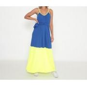Vestido Adulto Malha Canelada Alcinha Bicolor Azul Royal