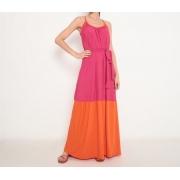 Vestido Adulto Malha Canelada Alcinha Bicolor Pink