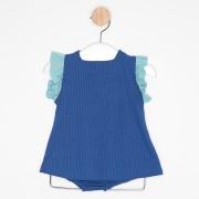 Vestido Bebê Evasê Azul Royal e Azul Claro