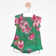 Vestido Bebê Flores Verde Bandeira + Tapa Fralda