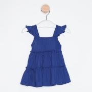 Vestido Bebê Infantil Babados Azul Royal