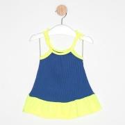 Vestido Bebê Malha Canelada Alcinha Bicolor Azul Royal