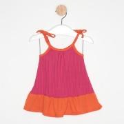 Vestido Bebê Malha Canelada Alcinha Bicolor Pink