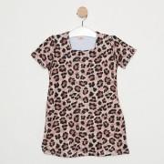 Vestido Comfy Infantil Animal Print de Onça Bege