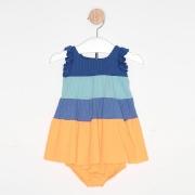 Vestido Curto Bebê Três Marias Babados Azul e Amarelo