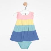Vestido Curto Bebê Três Marias Babados Multicor