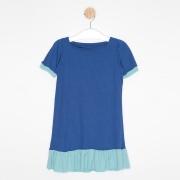 Vestido Infantil Evasê Azul Royal e Azul Claro