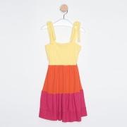 Vestido Infantil Três Marias Alcinhas Ajustáveis Amarelo Claro