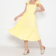 Vestido Midi Adulto Babados Amarelo Claro