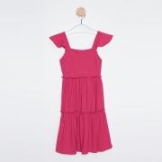 Vestido Midi Infantil Babados Pink