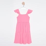 Vestido Midi Infantil Babados Rosa