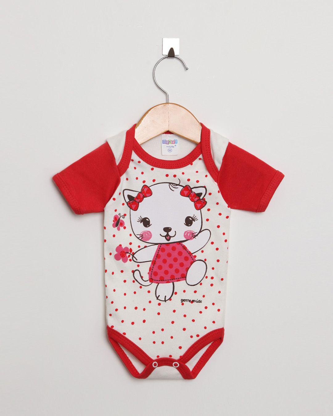 Body Bebê Manga Curta menina Off White e Vermelho Gatinha