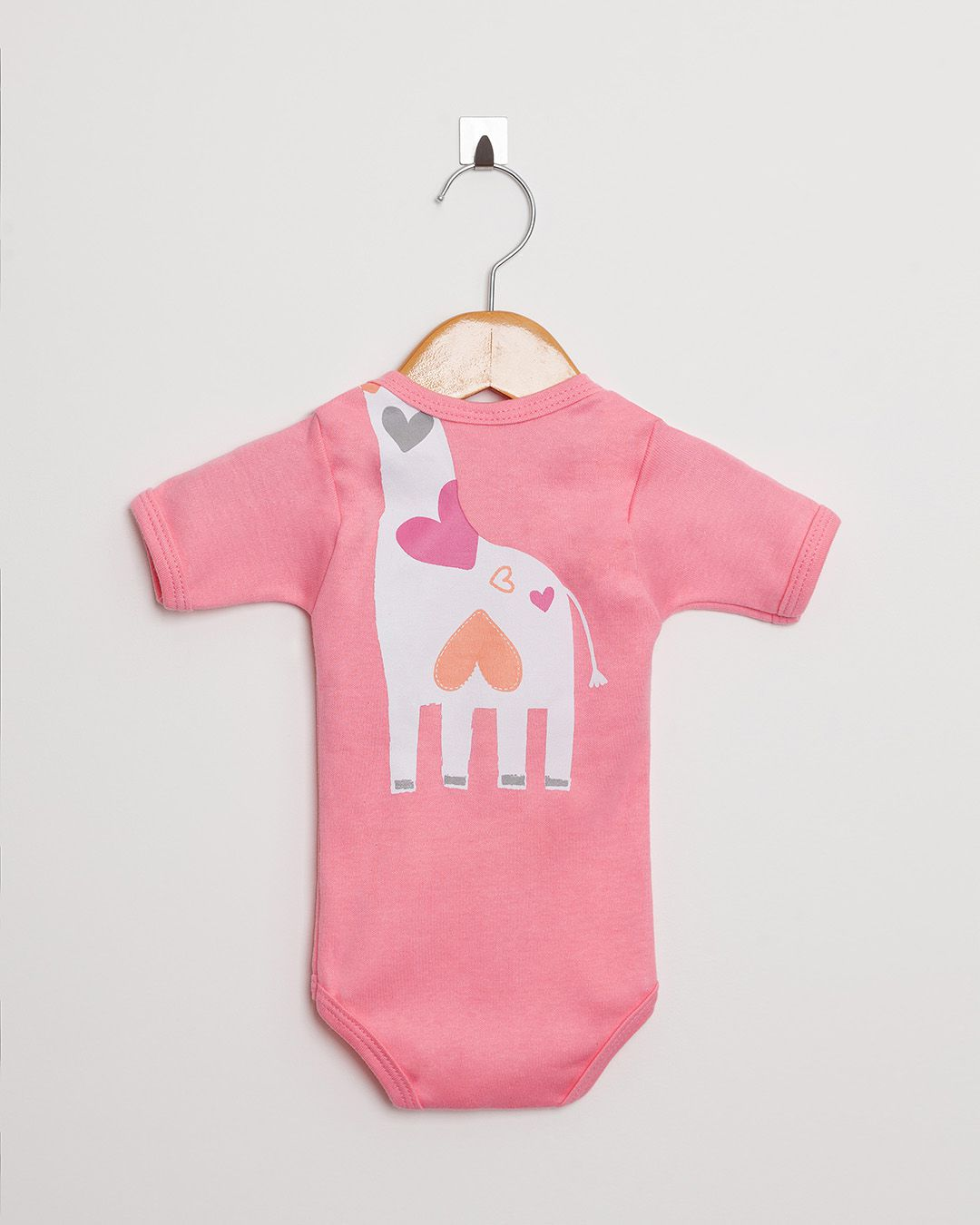 Body Bebê Manga Curta menina Suedine Rosa Girafa