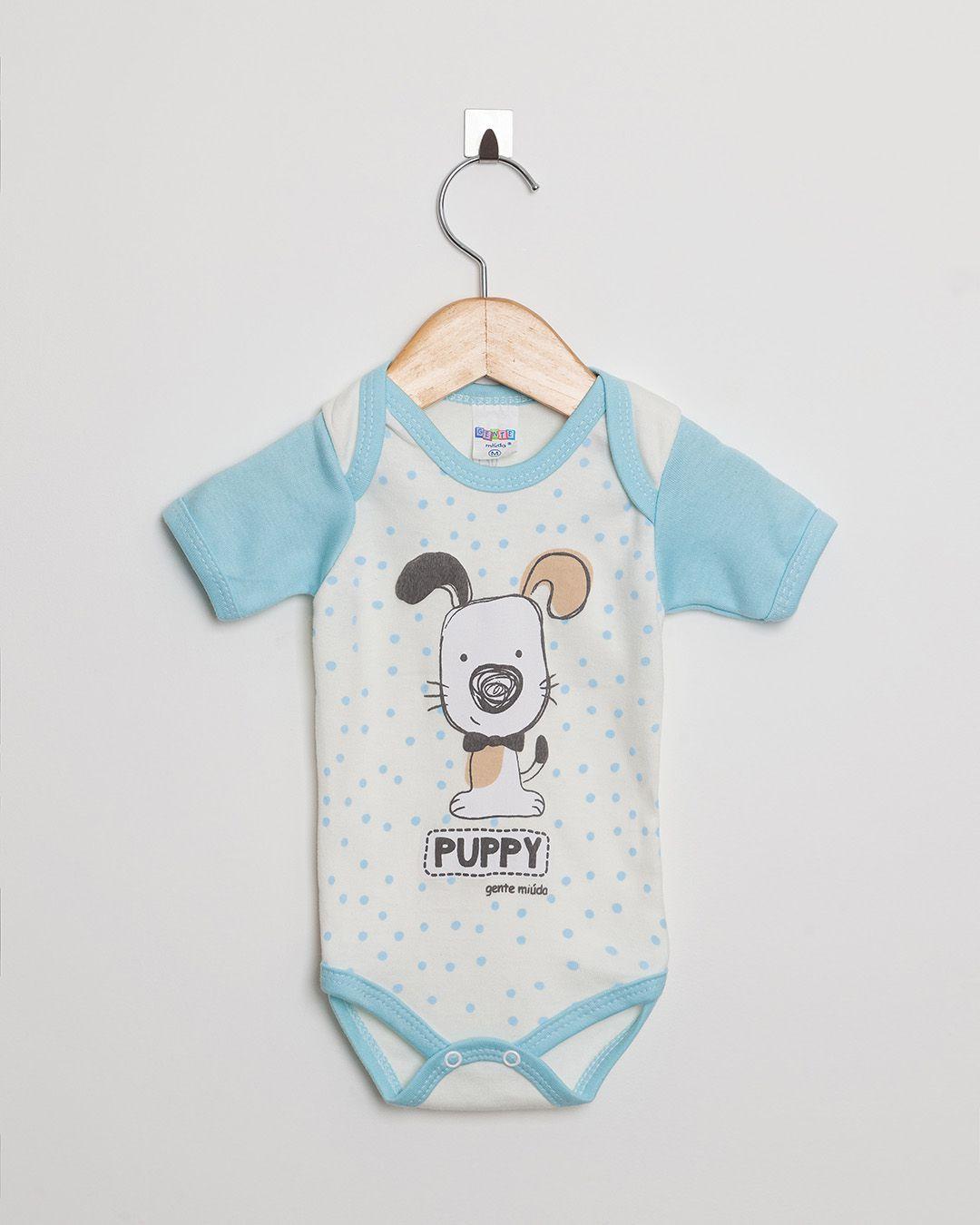 Body Bebê Manga Curta menino Off White e Azul Claro Cachorrinho