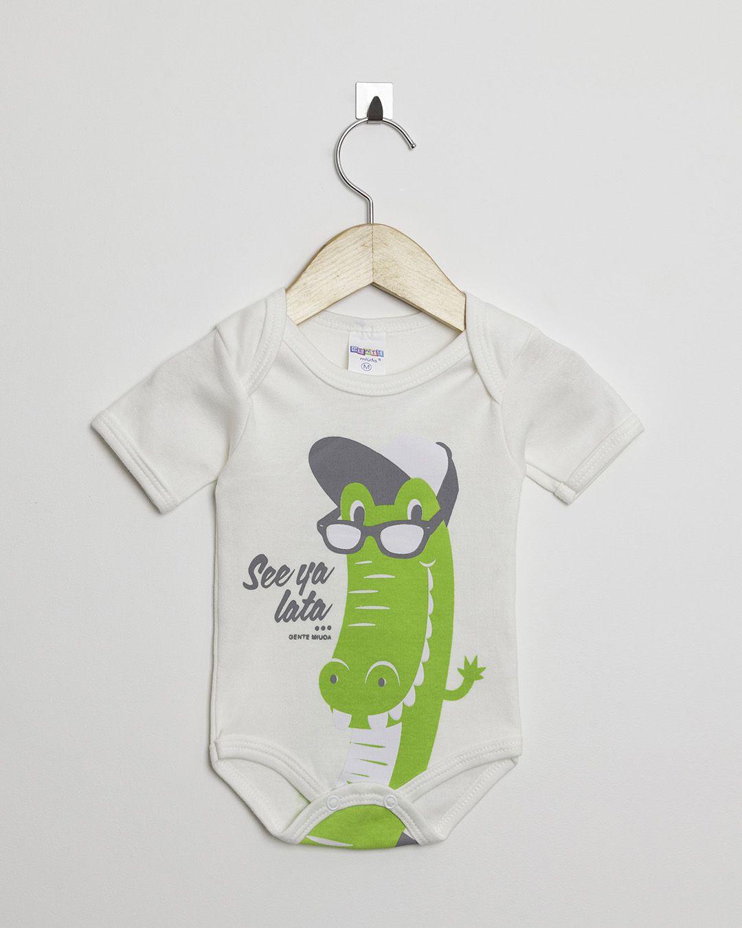 Body Bebê Manga Curta menino Suedine Off White Jacaré