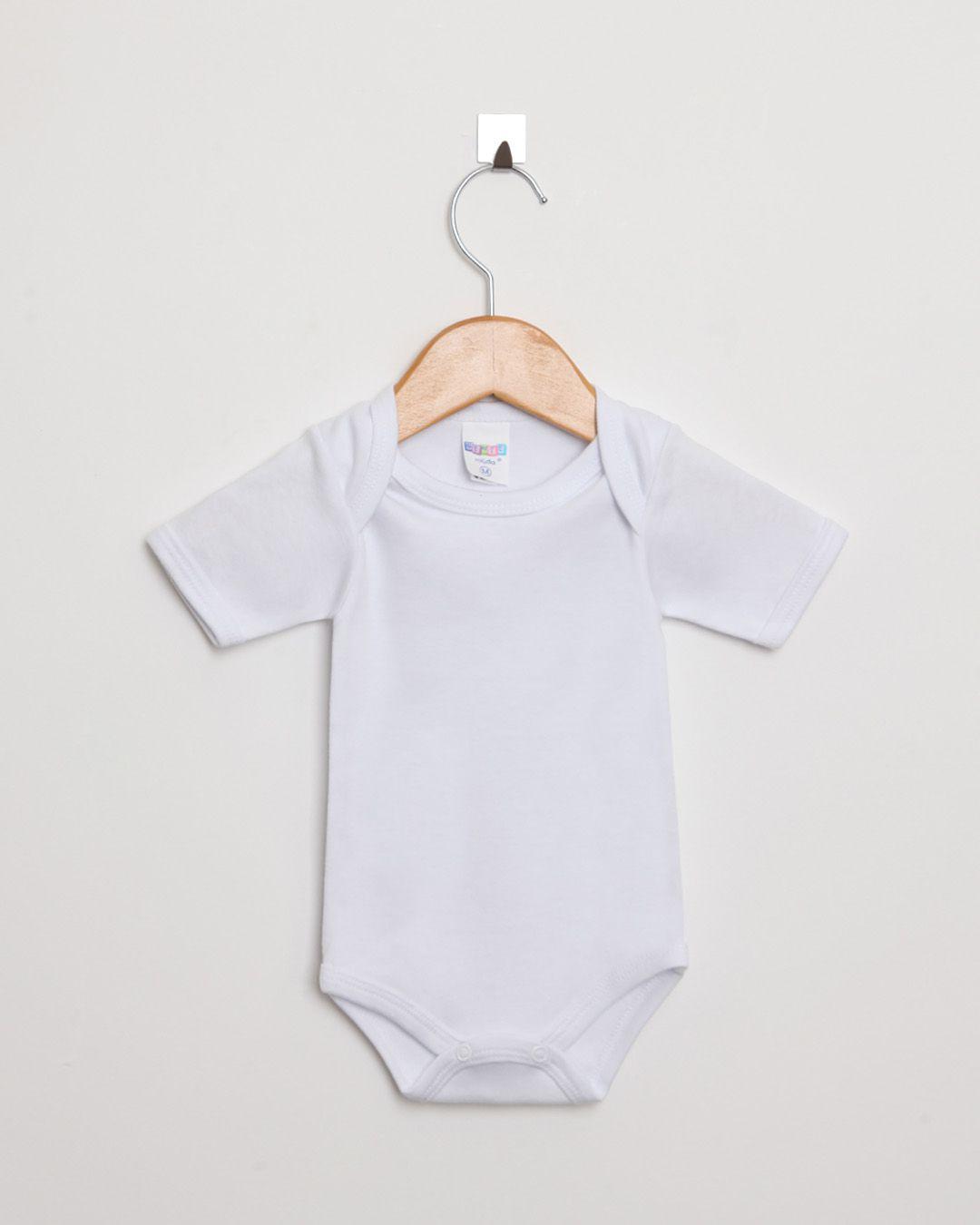 Body Bebê Manga Curta Suedine Branco Liso