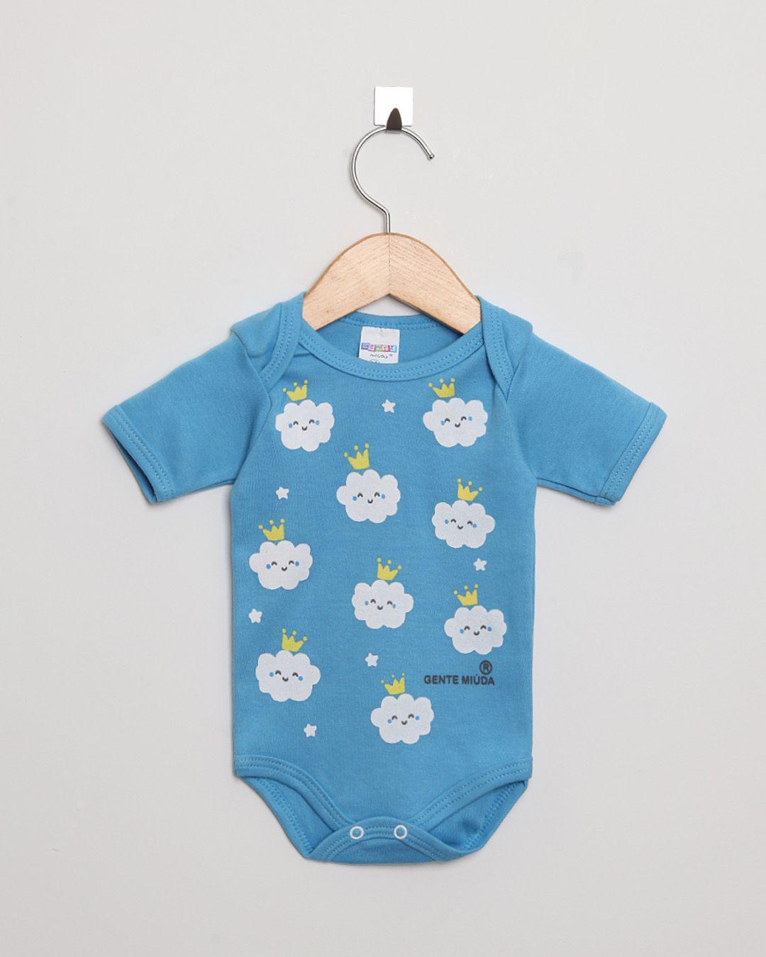 Body Bebê Manga Curta Suedine menina Azul Celeste Nuvens