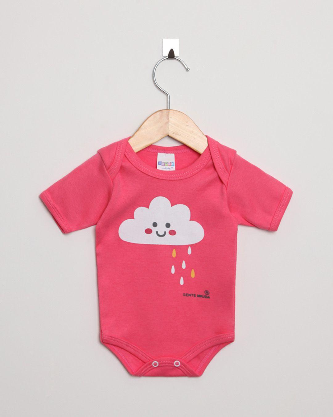 Body Bebê Manga Curta Suedine menina Pink Nuvem Chuvosa