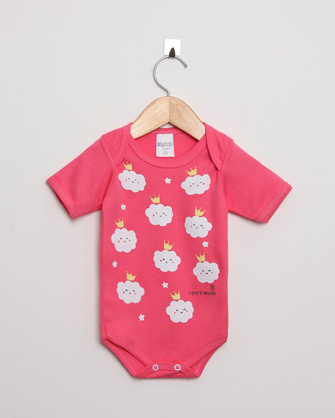Body Bebê Manga Curta Suedine menina Pink Nuvens