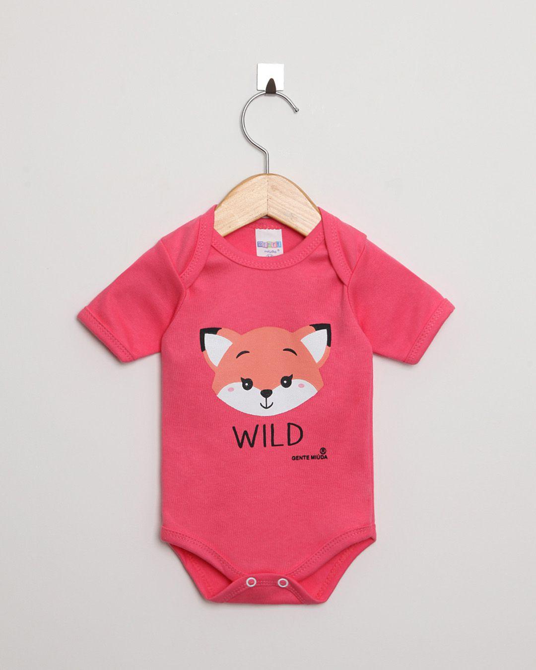 Body Bebê Manga Curta Suedine menina Pink Raposa