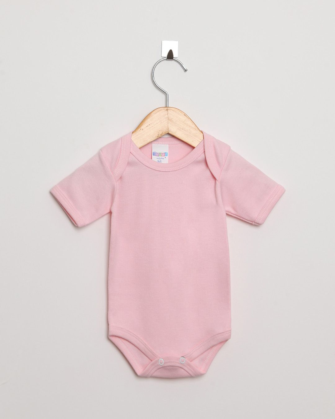 Body Bebê Manga Curta Suedine menina Rosa Claro Liso